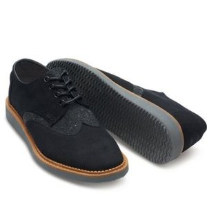 Toms Brogue Black Twill Derby Oxford Wingtip Shoes
